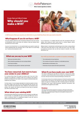 Why should you make a Will? 1